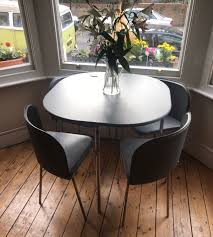 SPACE-SAVING DINING TABLE & 4 CHAIRS In NW2 Brent For £20.00 For ... Hans Olsens Super Spacesaving Ding Set For 4 Paya Buy Argos Home Nomad Space Saving Table And Chairs Spaceone Seater Dropleaf Room Sets Fniture Liberty Grey Gloss And Hygena Amparo Folding In Dy13 Forest 2000 Sale Small Spaces Creative Idea With Foldable For Modern Kitchen Navy Appealing Round Unvarnished Wooden Saver