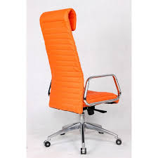 Fine Mod Imports Ox High Back Leatherette fice Chair in Orange
