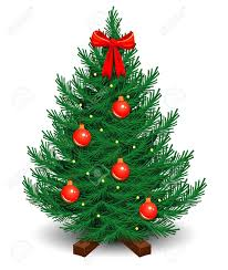 Artificial Christmas Tree On A Stand Decorated With Red Balls And Bow Garland