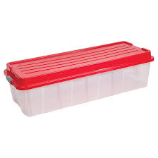 Christmas Tree Storage Tote With Wheels by Wheeled Storage Tote With Lid Clear Red Rona