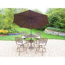 7 Piece Patio Dining Set With Umbrella by Hanover Traditions 3 Piece Round Aluminum Patio Bar Height Dining