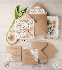 Romantic Rustic Wedding Invitation Suite Featuring Delicate Lace For Style Savvy Couples