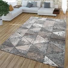 wohnzimmer teppich kurzflor vintage design rauten muster modern beige grau größe 160x230 cm