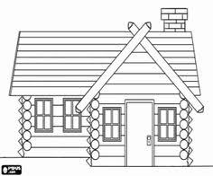 Wooden House Log Cabin Coloring UBDab