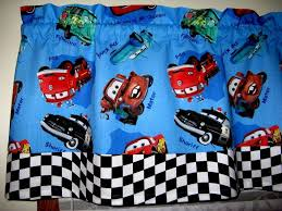 disney cars checkered flag blue curtain valance 43 x 17 ebay