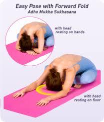 Sometimes Called Simple Cross Legged Forward Fold Adho Mukha Sukhasana AH Doh MOO Kah Soo KAHS Uh Nuh This Pose Calms The Mind While Stretching
