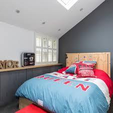 Dark Grey Teenage Boys Bedroom With Statement Duvet Set