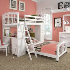 Kura Bed Weight Limit by White Wooden Loft Bed With Peach Black Stripped Bedding Sheet
