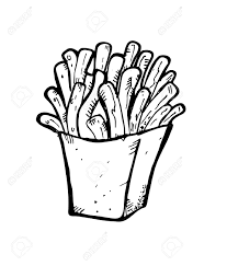 french fries doodle Stock Vector