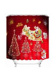 150x180cm duschvorhang santa weihnachtsbaum bad vorhang