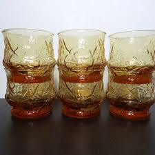 Vintage Libbey Drinking Glasses Amber Color Country Garden Raised Daisy Pattern