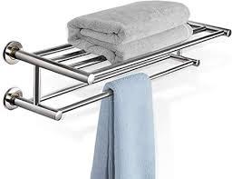 dreamade handtuchablage bad badetuchablage edelstahl handtuchstange mit 2 ablagen handtuchständer wand handtuchhalter badetuchstange ablage für