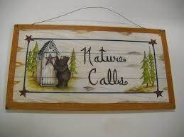 Outhouse Themed Bathroom Accessories by Amazon Com Brown Bear Nature Calls Country Bathroom Sign Outhouse
