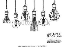 Hand Drawn Vector Set Of Different Geometric Loft Lamps Edison And Modern Chandeliers Sketch