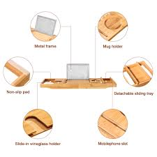 Bath Caddy With Reading Rack by Expandable Natural Bamboo Bathtub Caddy Book Tablet Phone Holder