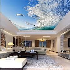 beibehang decke hause dekoration meer welle pigeon blau himmel tapete wohnzimmer schlafzimmer hintergrund wandmalereien esszimmer tapete