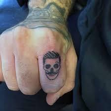 Stylish Skull Finger Tattoo Design For Cool Men