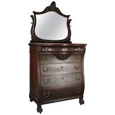 Antique Birdseye Maple Dresser With Mirror by Antique Flint And Horner Carved Mahogany And Bronze Bombe High