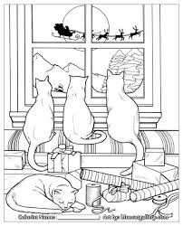 Free Coloring Page From Santas Cats Adult Book