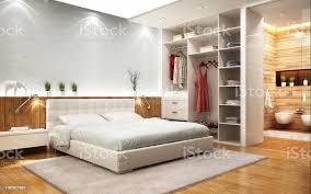 modernes designschlafzimmer mit bad und schrank stockfoto und mehr bilder architektur