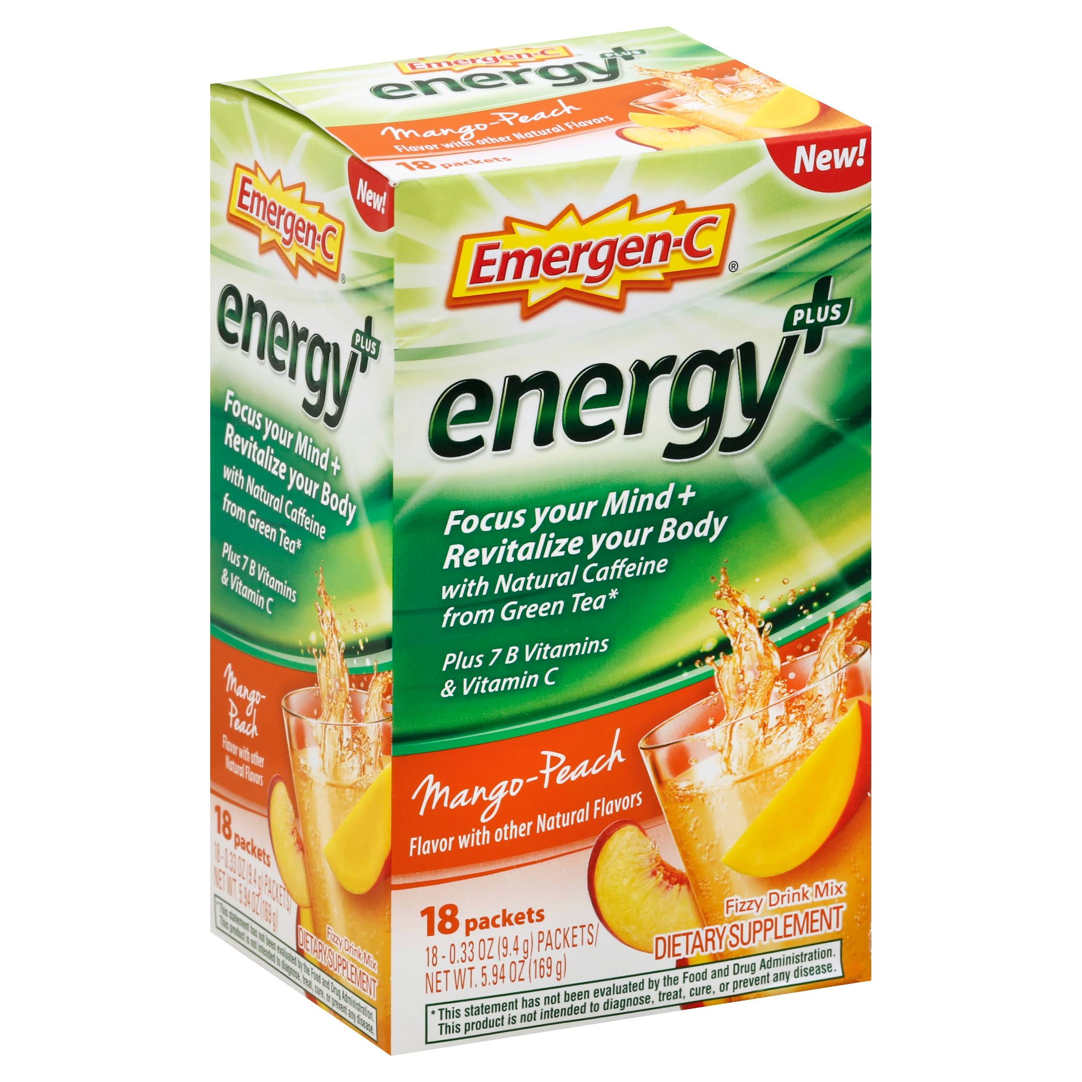 Emergen-C Energy+ Fizzy Drink Mix - Mango Peach, 18 Packets