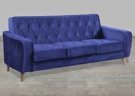 Tufted Velvet Sofa Bed petite navy velvet sofa button tufted