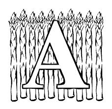 Letter A Asparagus Coloring Page