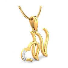 Kataria Jewellers Letter N With Valentine Heart 925 BIS Hallmarked