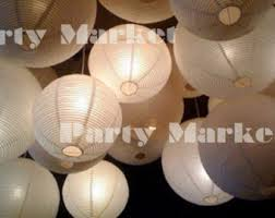 48 Paper Lanterns Led Set Mixed Size White Color Round Lamp Shade Floral Wedding Party DIY