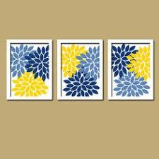 yellow navy blue flower burst dahlia artwork set of 3 trio prints
