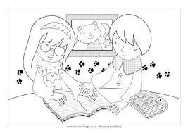 Children Reading Braille Colouring Page