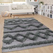 teppich wohnzimmer shaggy hochflor zickzack muster skandinavisch in anthrazit