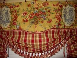Waverly Curtains And Drapes by French Country Valance Balloon Shade Curtain Red Gold Waverly