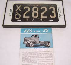 1941 New Jersey Framed Commercial License Plate From 1941 Reo Farm ...