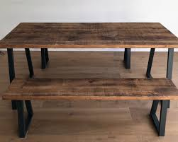 Industrial Reclaimed Rustic Oak Pine Wood Steel Metal Kitchen Dining Table Benches