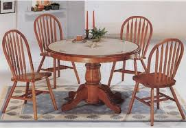 Classic Oak Dining Room Round Table Deluxe Arrow Back Chairs