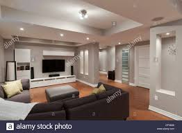 luxus wohn keller wohnzimmer mit flachbild tv