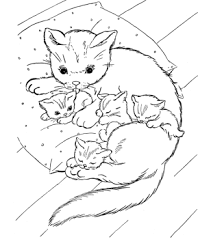 Family Cat Coloring Pages