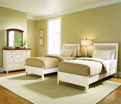 Simple Twin Bedroom Set Idea For Girls With Golden Brown Wall Paint Color And Fake Wood