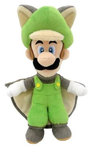 Super Mario Bros Flying Squirrel Luigi Plush Toy - 9""