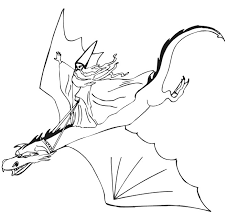 Dragon Coloring Page Wizard Riding