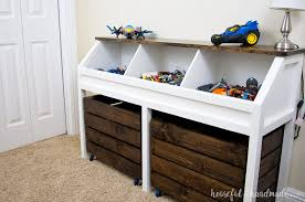 Making A Large Toy Box by Toy Storage Console With Rolling Bins Buildsomething Com