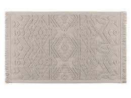 tapis coton tisse a plat tapis de bain 100 coton tissé plat motif ikat beige 50x80cm spirit