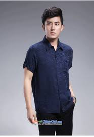 hangzhou silk lapels herbs extract short sleeved shirt middle aged