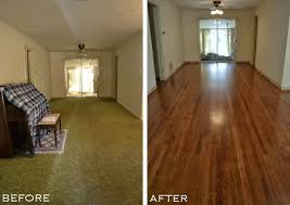 Entryway And Dining Room With Old Carpet Removed Original Hardwood Floors Refinished From