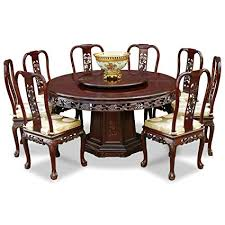 ChinaFurnitureOnline Rosewood Dining Table 60 Inches Queen Ann Grape Motif Round Set With 8
