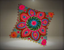 Pom Pillow Cover Suzani Pillows 16x16 Outdoor Cushions Bohemian Pil