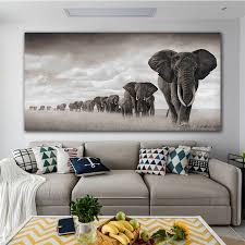 moderne leinwand malerei nordische poster und drucke dekoration schwarz weiß elefant warteschlange kunst wandbild für wohnzimmer buy schwarz afrika