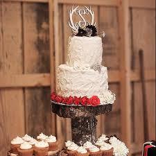 Wooden Antler Cake Topper Initial Monogram