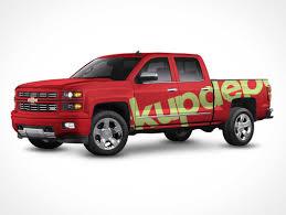 100 Free Truck Chevy Silverado Wrap PSD Mockup PSD Mockups